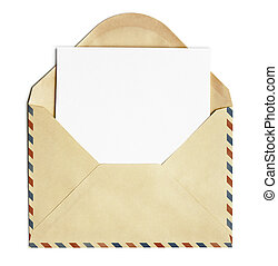 old open air post envelope with blank paper sheet isolated...