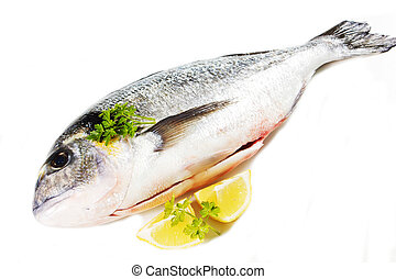 sea bream on a white background with lemon