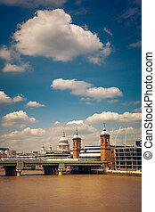 Clouds over Thames, London City, UK