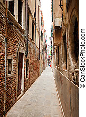 View of narrow street in Venice