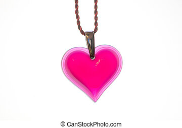 Heart shaped pendant isolated on a white background