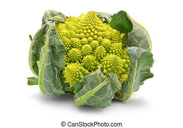 Romanesco broccoli cabbage isolated - Romanesco broccoli...