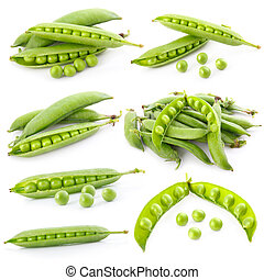 Set of ripe green pea in the pod isolated on white...