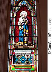 catholique, peint,  chanth,  saints, romain, église, lunettes