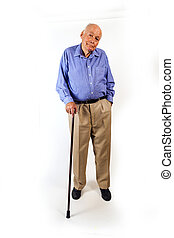 happy elderly man standing with his walking stick isolated...
