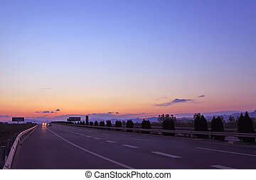 highway in the dusk, baoding in China