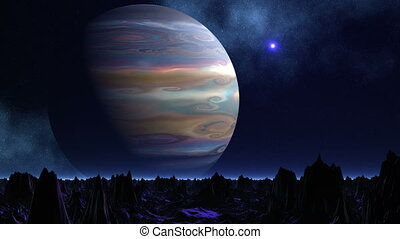 Huge planet and UFO - The huge planet the gas giant rotates...