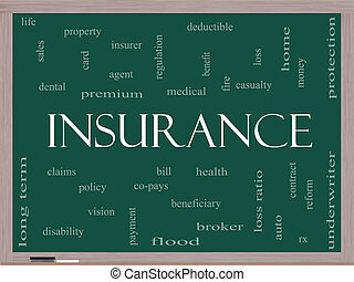 Insurance Word Cloud Concept on a Blackboard with great...