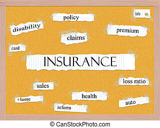 Insurance Corkboard Word Concept with great terms such as...