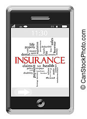 Insurance Word Cloud Concept on Touchscreen Phone -...