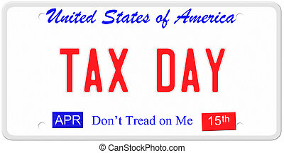 Tax Day License Plate - An imitation United States license...