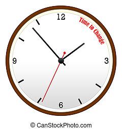Time to Change Wooden Wall Clock Concept