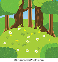 Glade in wood - Illustration glade with flower by summer in...
