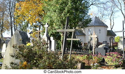 cemetery autumn church - old rural cemetery monuments cross...