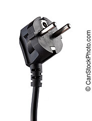 Black electric plug isolated on white background