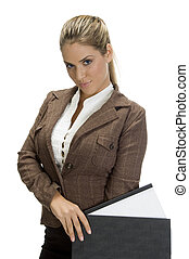 attractive woman standing with file