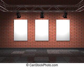 Blank Frames on Bricks Wall. Gallery Interior.  3D Render.