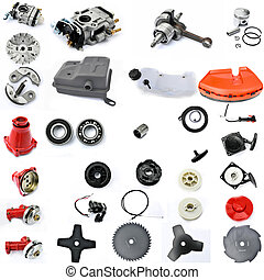 spare parts in disassembled form, gasoline engine, lawn...