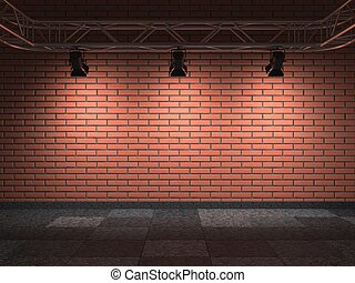 Bricks Wall - Gallery Interior with Bricks Wall 3D Render...