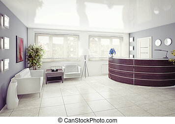 reception area - A reception area -modern interior