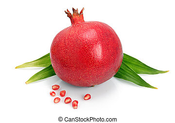 Pomegranate fruit with green leaf and seeds isolated on...