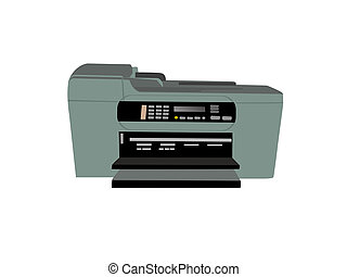 fax photocopier on isolated background