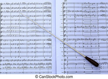Music Score and Baton - A conductors music score and baton