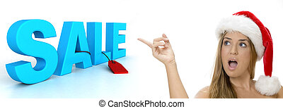 sexy lady pointing to sale 3d text on an isolated white...