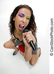 Cantante, canto, micrófono, hembra