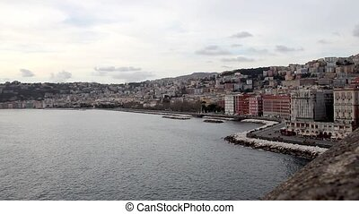 Naples bay Italy - view of Naples coastline at sunset ,...
