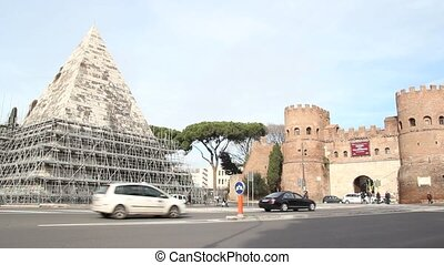 Pyramid of Cestius in Rome - Pyramid of Cestius near the...