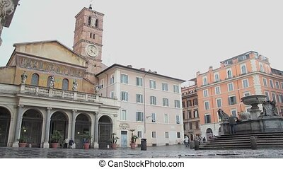 Trastevere, Rome - The Basilica of Our Lady in Trastevere,...