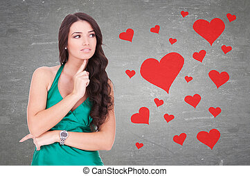 woman wondering how is it to be in love - young woman...