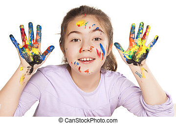 happy little girl and colors - colors stained happy and...