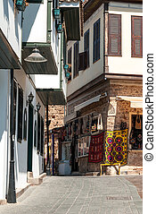 View of an old town street in Antalya, Turkey