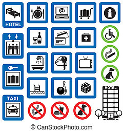 icons hotel - vector set of information symbols for the...