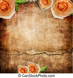 vintage romantic background with roses