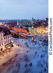 Castle Square in Warsaw - Castle Square at evening in the...