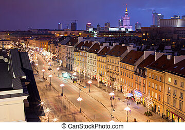Warsaw at Night - Krakowskie Przedmiescie street at night,...