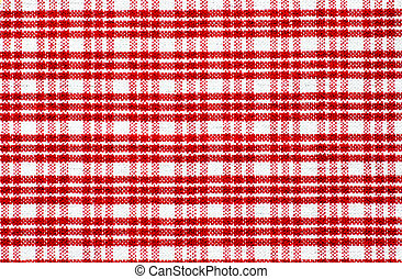 Red checked tablecloth - Detail of a red and checked...