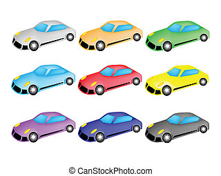 Colorful Illustration Set of Sports Car Icon - An...