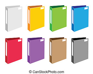 Colorful Illustration Set of Office Folder Icons -...