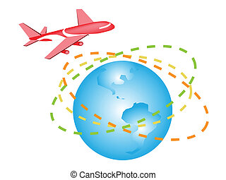An Illustration of A Plane Flying Around The World - Global...