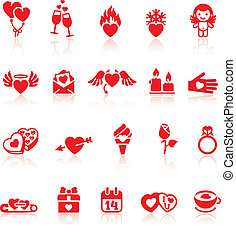 Set valentine's day red icon