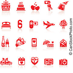 Set valentine's day red icons, romantic travel symbols