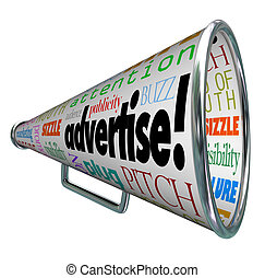 Advertise Bullhorn Megaphone Words of Marketing - A bullhorn...