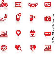 Set valentine's day red icons
