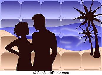 A Romantic Couple on the Beach - Silhouette of a...