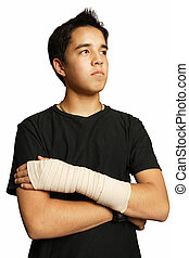 Sprained wrist - An injured Asian teenager with a medical...