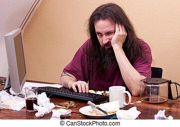 frustrado, homem, sentando, PC, pensando